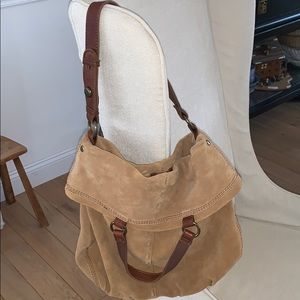 Lucky Brand tan camel suede foldover tote bag